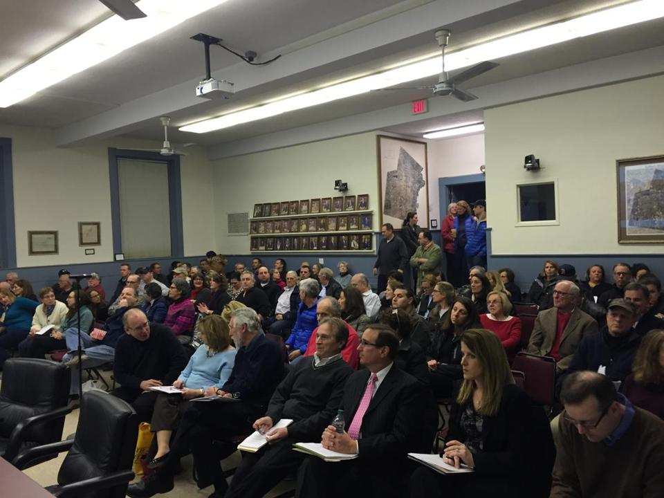 About 150 people attended a Sudbury Board of Selectmen meeting Tuesday to oppose the planned transmission line project.