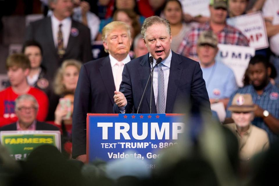 NASCAR chairman and CEO Brian France endorsed Donald Trump for president at a rally at Valdosta State University in Georgia.