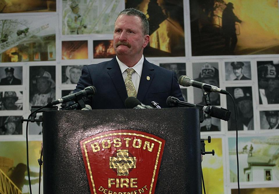 Fire Commissioner Joseph Finn briefly became emotional as he addressed the media regarding federal findings on the fatal Back Bay fire that took the lives of two firefighters.