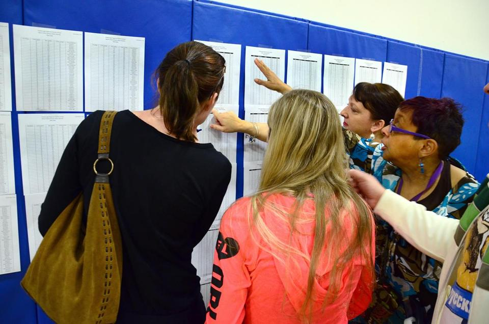 Foxborough 03/01/2016 : A lottery was held for enrollment at the Foxborough Regional Charter School. Families came to the schools gymnasium to find out if they were selected to attend next year. They gather to see if their number was posted on the wall. Photo by  (regional)