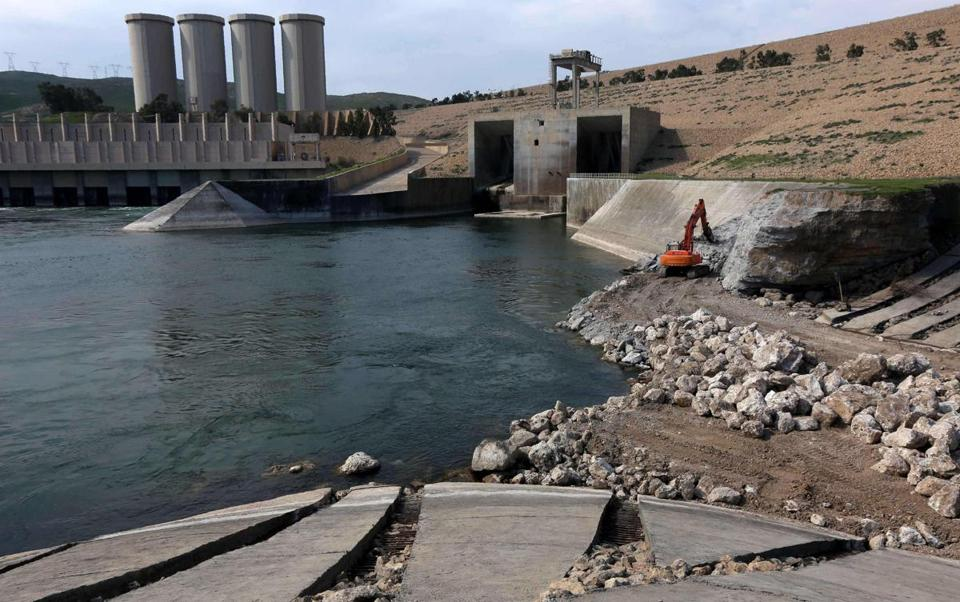 The Mosul dam undergoes strengthening late last month.