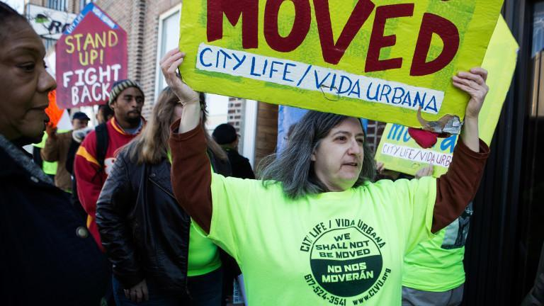 Housing advocate Irene Glassman participates in a demonstration protesting no-fault evictions, in front of the offices of Advanced Property Management, in the Hyde Park neighborhood, on March 12.