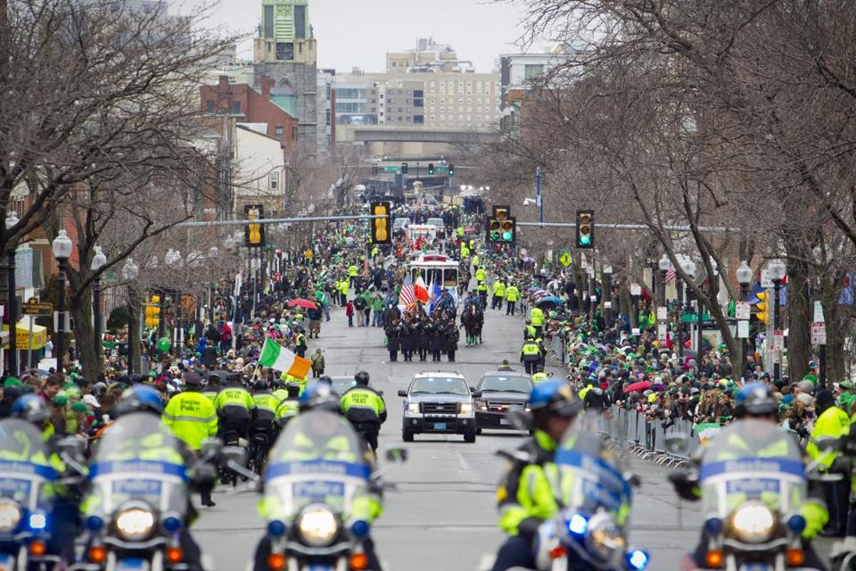 A federal judge has ordered that the Boston St. Patrick's Day parade, seen here in 2015, can march along its usual route, rather than a shortened one sought by the city of Boston.