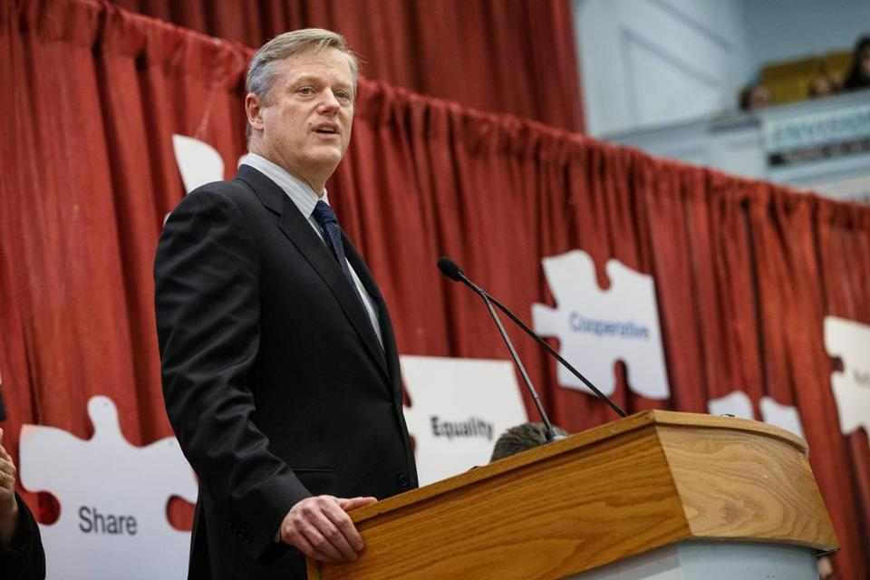 Governor Charlie Baker spoke during an event at the State House in Boston on March 3.
