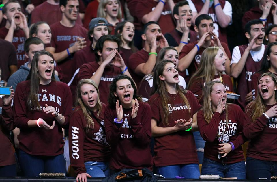 Bishop Stang fans cheered as the school's boys' basketball team played Bedford on Tuesday in the Division 3 state semifinals at TD Garden.