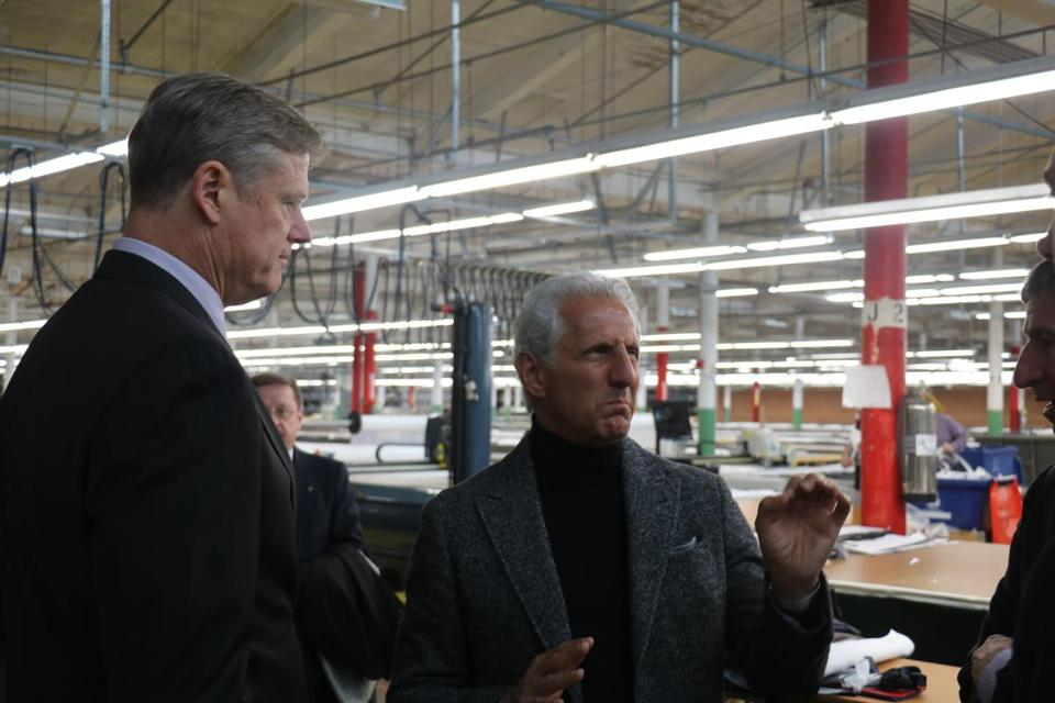 Joseph Abboud (right) with Governor Charlie Baker on Thursday at Abboud's Tailored Brands factory.