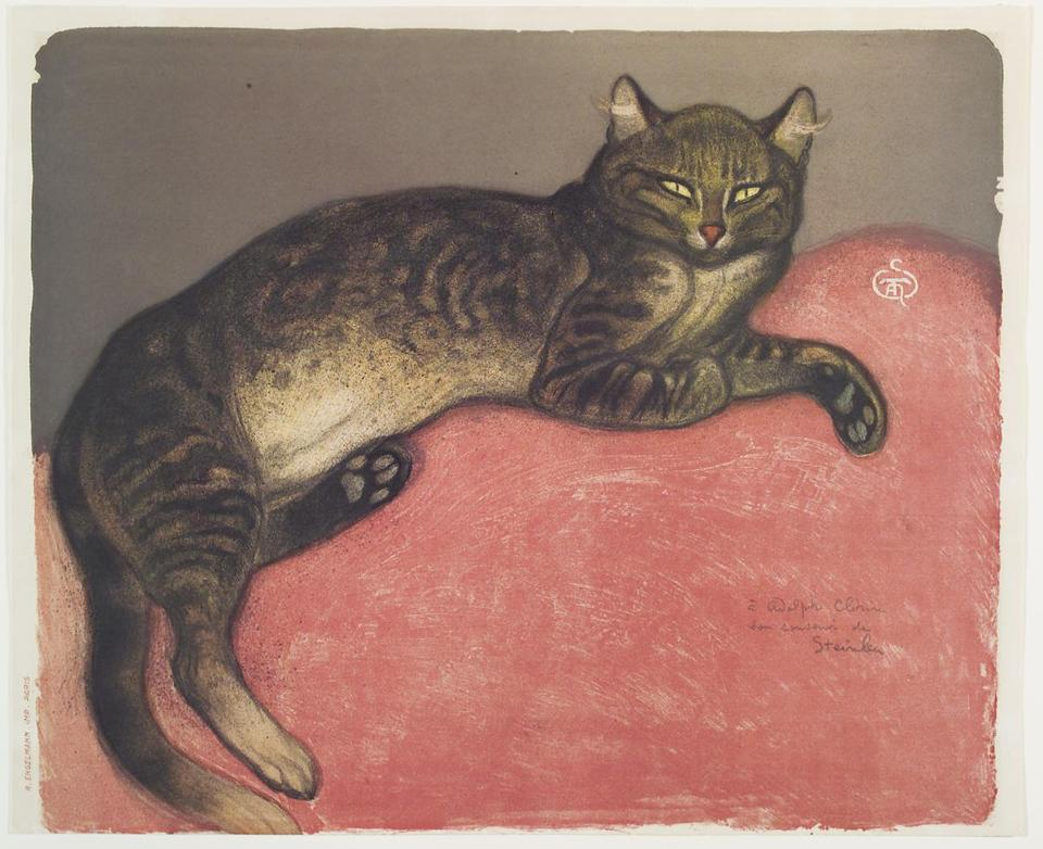 """The Cat in Winter, 1909,"" a lithograph on cream wove paper by Theophile Alexandre Steinlen."