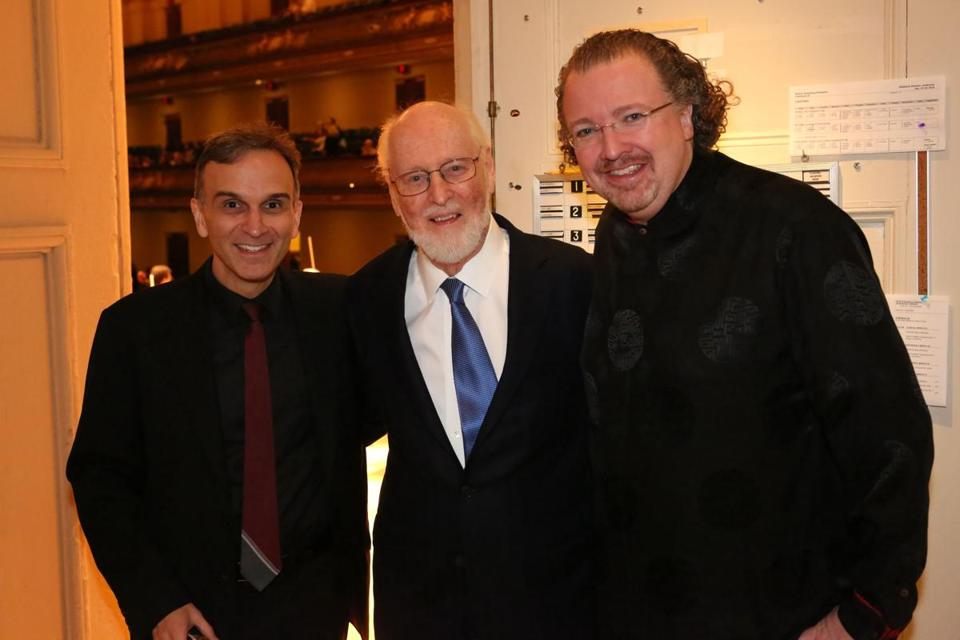 Performer Gil Shaham, left, with conductors John Williams, center, and Stéphane Denève.
