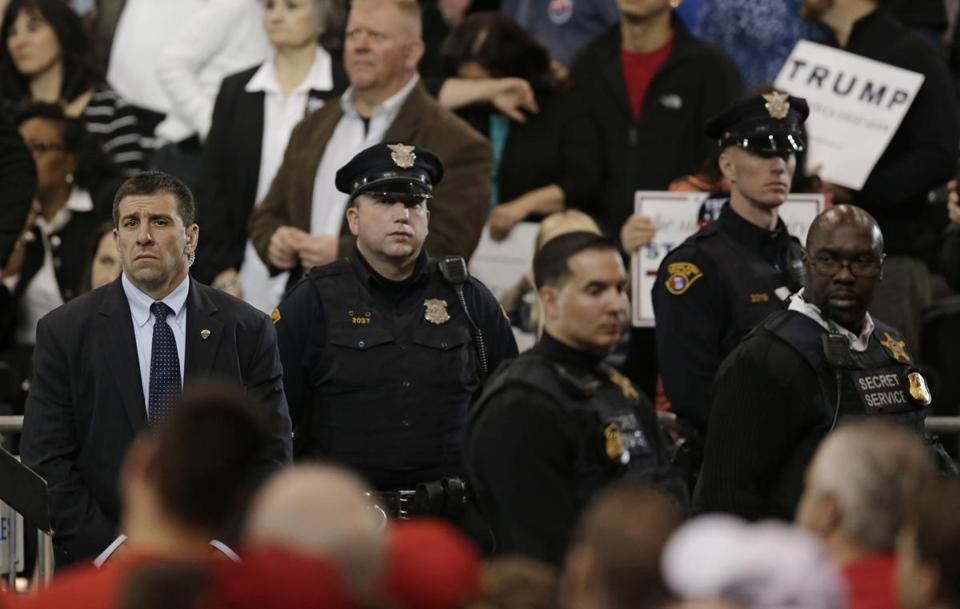 The Secret Service and Cleveland police kept a close watch on the crowd as Republican presidential candidate Donald Trump spoke at a campaign rally this month.