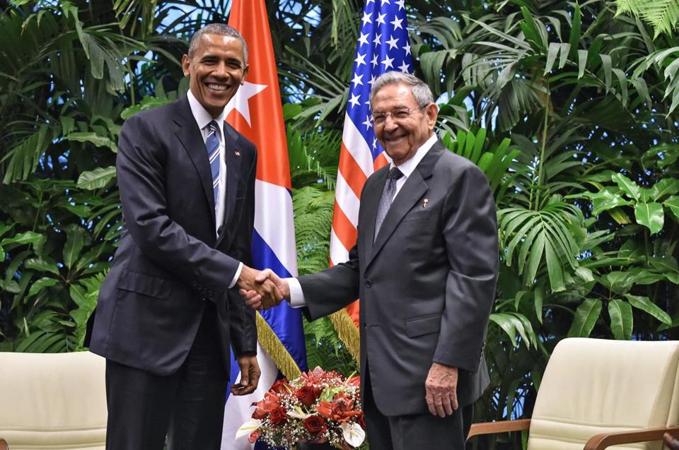 President Barack Obama and Cuba President Raul Castro shook hands at the Revolution Palace in Havana.
