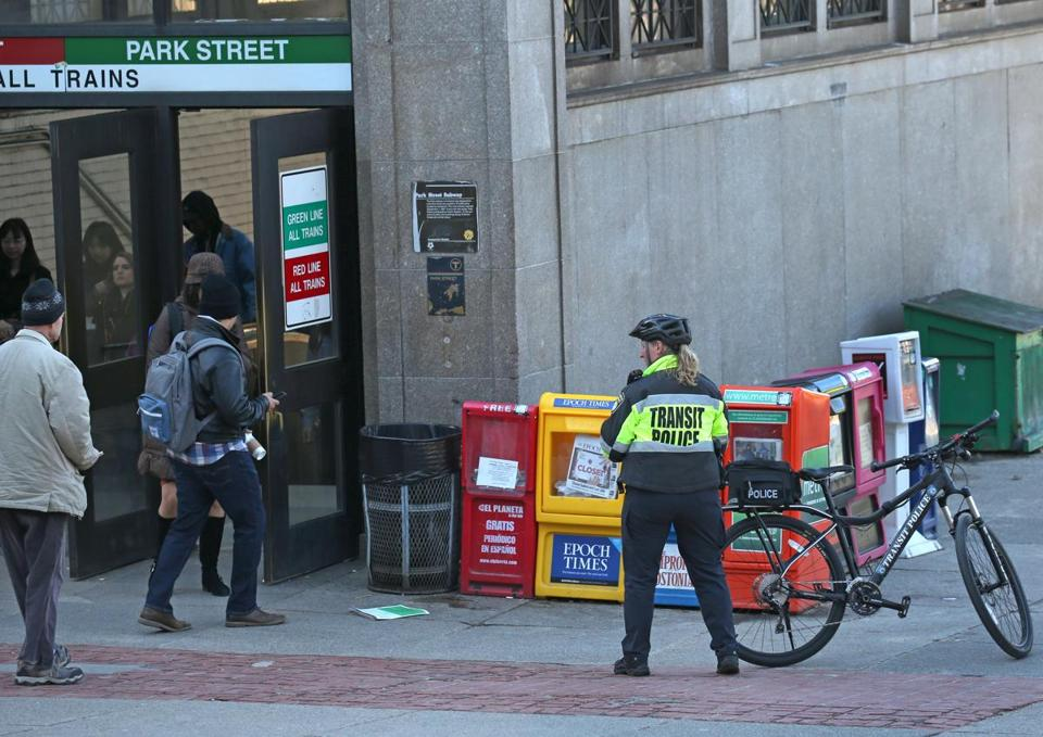 An officer at Park Street Station. The Transit Police reviewed crime data and made changes to how officers are deployed.