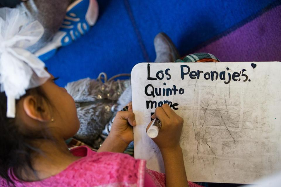 A student wrote in Spanish during a language immersion program at McPolin Elementary School in Park City.