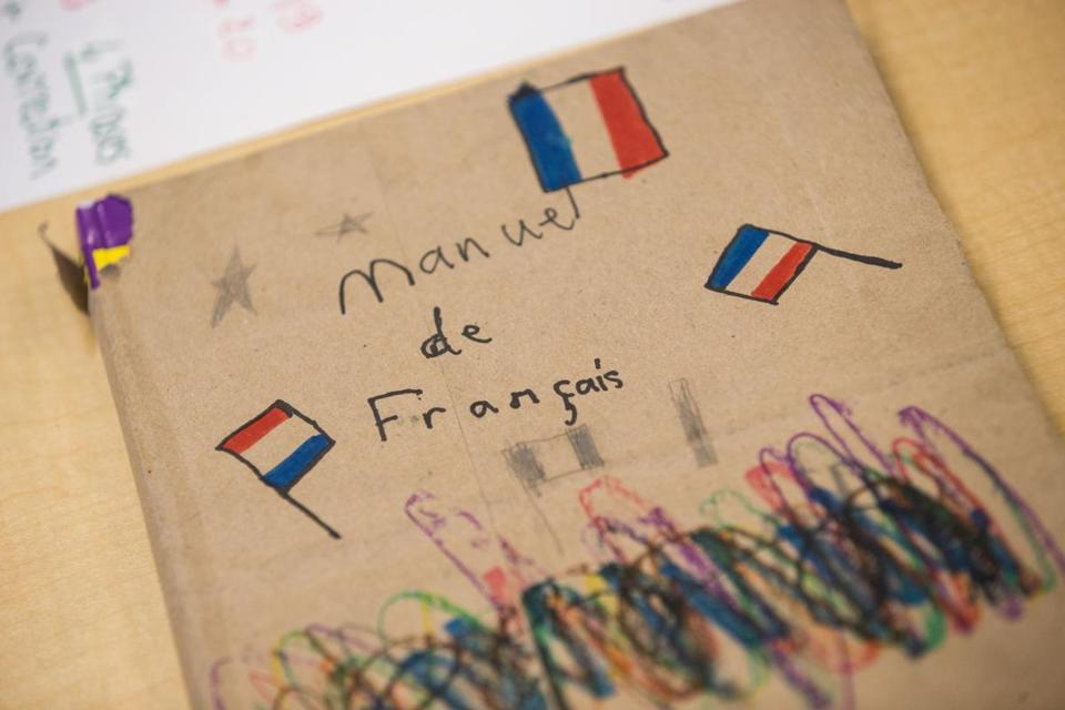 French language school materials were hung in a classroom in Park City, Utah.