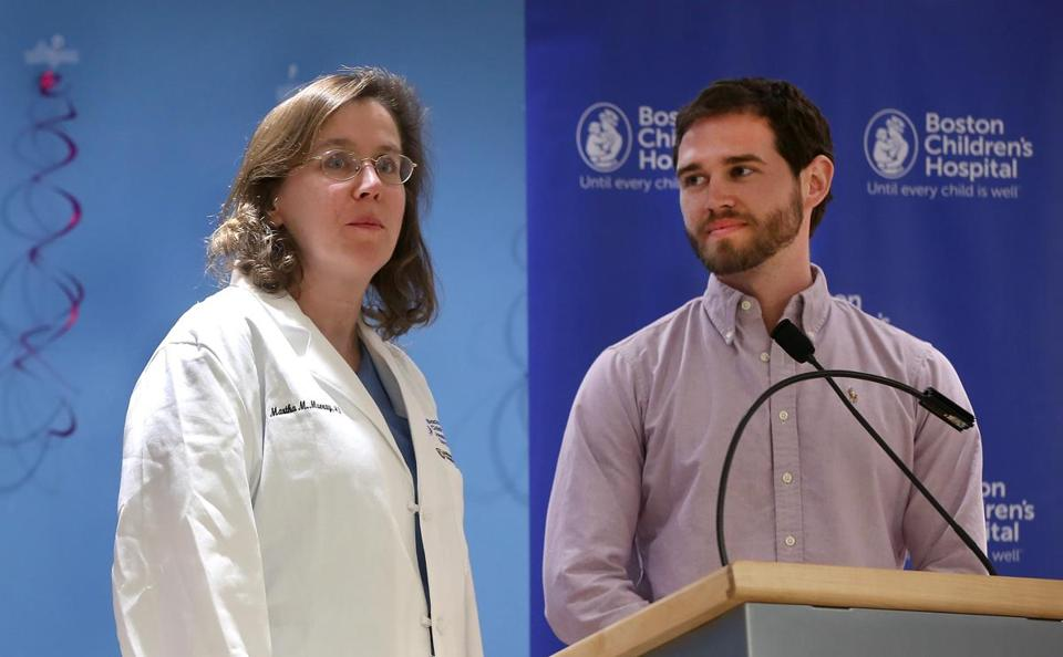 Boston, MA--3/23/2016--Dr. Martha Murray (cq) and 26-year-old patient Corey Peak (cq) made remarks. The results of a new surgical procedure to treat ACL injuries is announced at a Boston Children's Hospital press conference, on Wednesday, March 23, 2016. Dr. Martha Murray, Dr. Lyle J. Micheli (cq) and Corey Peak talked about the Bridge-Enhanced ACL Repair (cq). Photo by Pat Greenhouse/Globe Staff Topic: ACL Reporter: Shira A. Springer