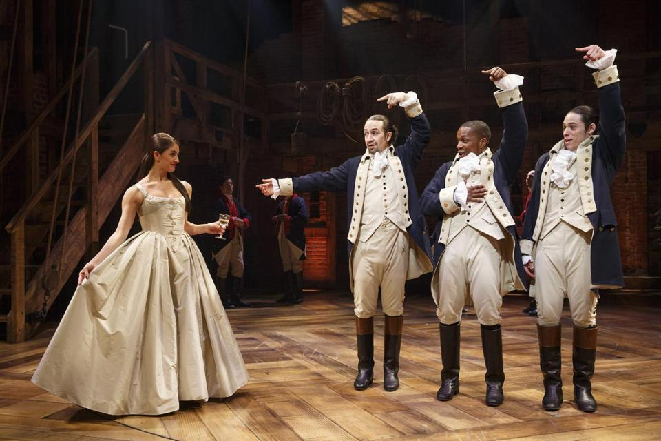 "A scene from the musical ""Hamilton"" with Leslie Odom Jr. (second from right) as Aaron Burr."