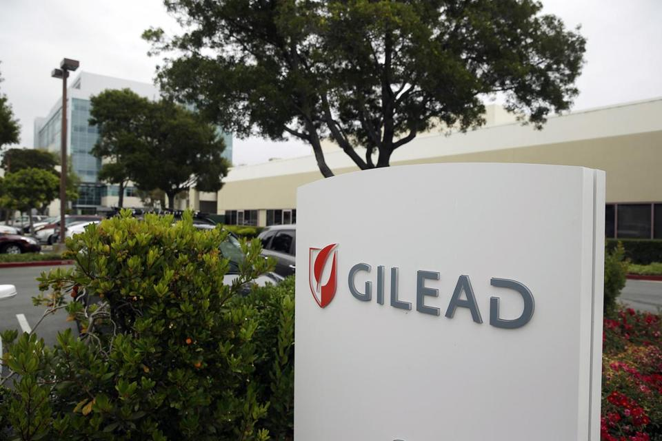 This photo taken Thursday, July 9, 2015, is the headquarters of Gilead Sciences in Foster City, Calif. Harvoni, the newest pill from California-based Gilead Sciences, accounted for more than three-fourths of the prescriptions filled for hepatitis-C drugs in the first three months of this year, according to IMS Health. (AP Photo/Eric Risberg)