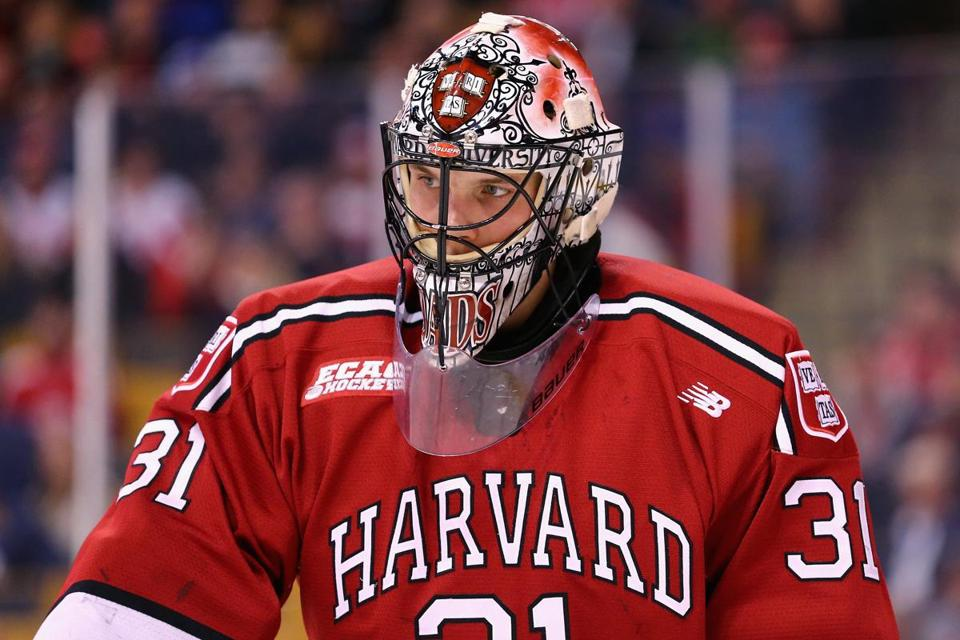 BOSTON, MA - FEBRUARY 01: Merrick Madsen #31 of the Harvard Crimson looks on during the third period against the Boston College Eagles at TD Garden on February 1, 2016 in Boston, Massachusetts. The Eagles defeat the Crimson 3-2. (Photo by Maddie Meyer/Getty Images)