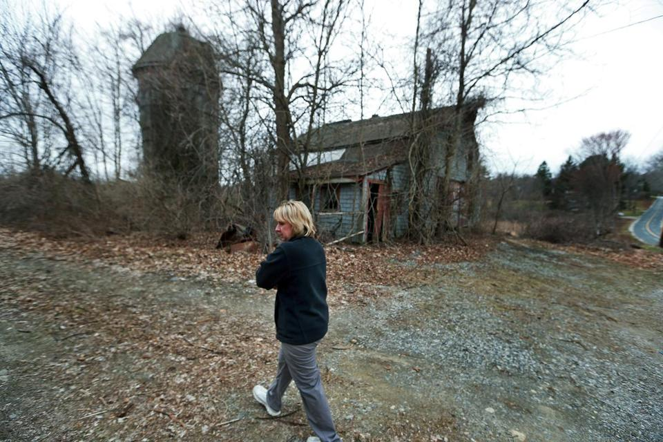 Dudley resident Desiree Moninski walked through the site where the Islamic Society of Greater Worcester wants to build a Muslim Cemetery, directly across the street from her house.