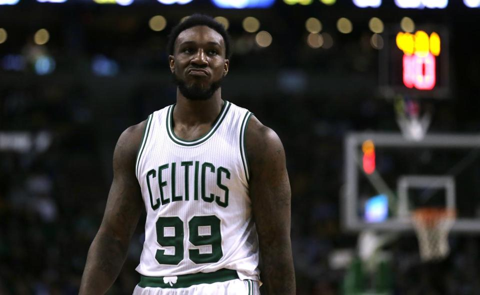 Boston Celtics forward Jae Crowder (99) during the second quarter of an NBA basketball game in Boston, Wednesday, March 9, 2016. (AP Photo/Charles Krupa)