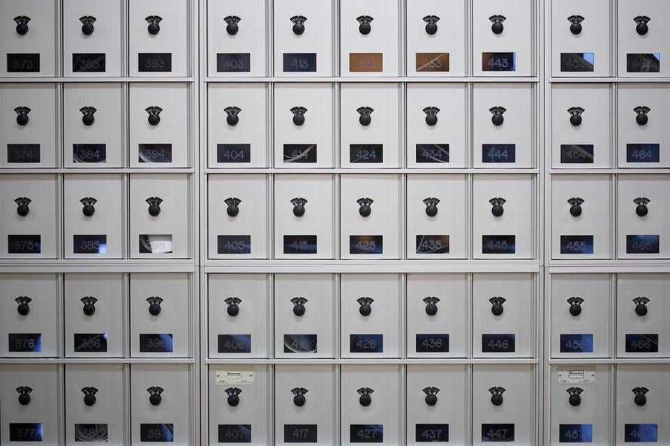 Mailboxes at Bates College in Lewiston, Maine.