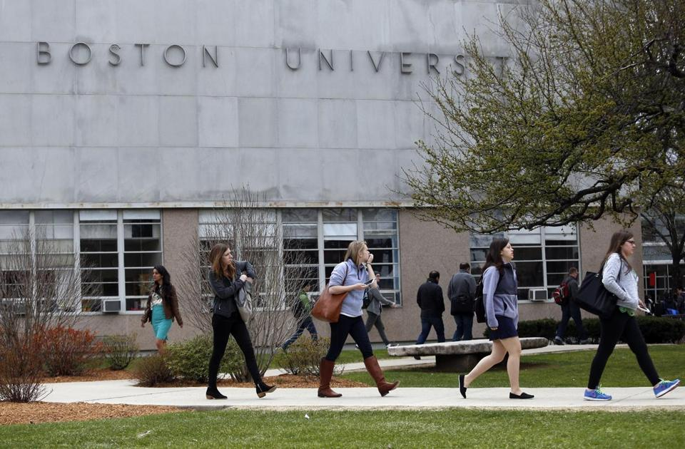 Students filed across  Boston University's campus in April 2015.