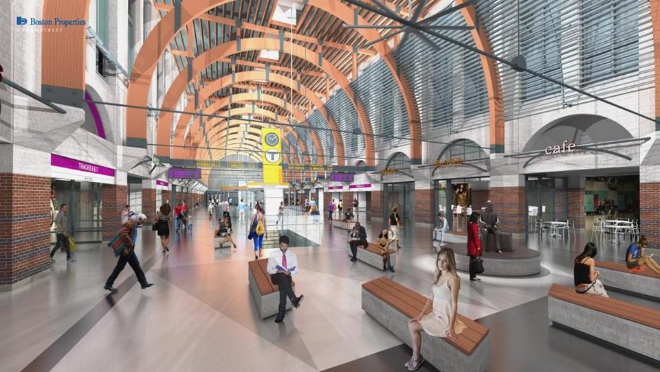Boston Properties is planning improvements (shown in rendering above) to the concourse, including renovating bathrooms, expanding waiting areas, and adding lighting and retail.