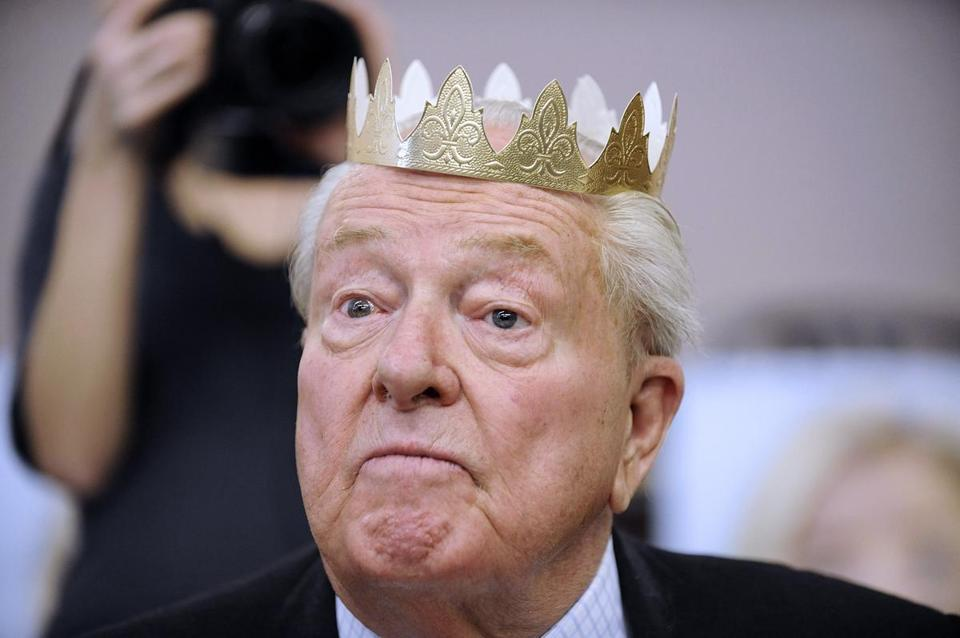 Jean-Marie Le Pen wears an Epiphany crown during a meeting with militants on January 13, 2013 in Haute Goulaine, western France. JEAN-SEBASTIEN EVRARD/AFP/Getty Images