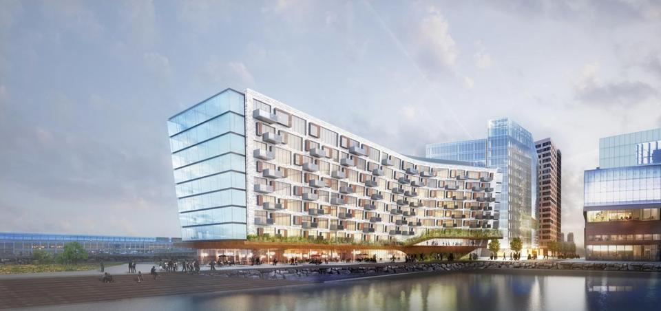 An architect's rendering shows the condo building that would replace the aged Anthony's Pier 4 structures.