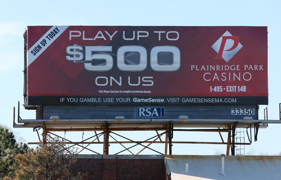 "A billboard on the Southeast Expressway in Boston advertised Plainridge Park Casino, which is offering $500 in ""free play."""