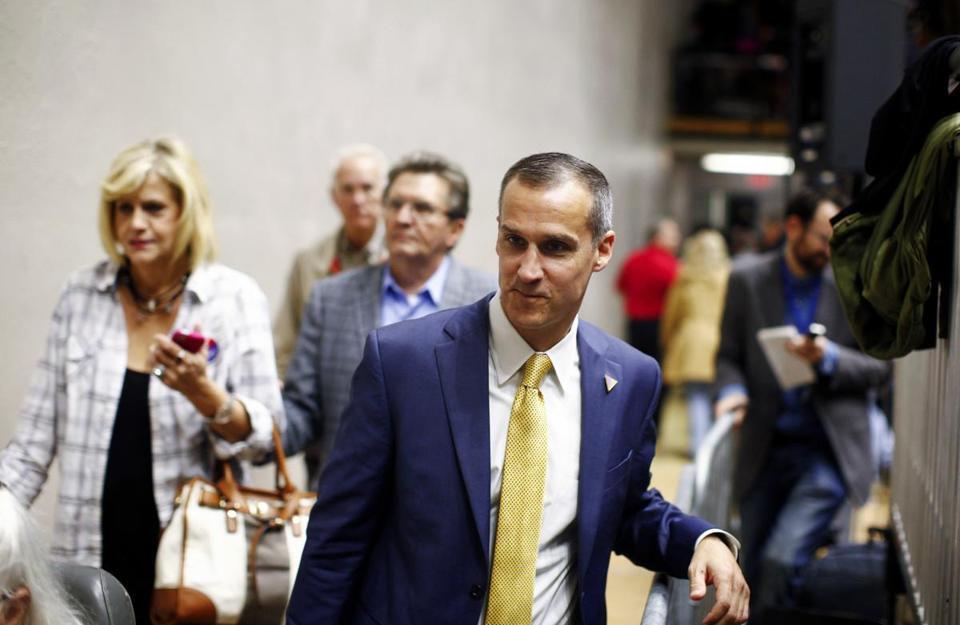 "Donald Trump has suggested that the accusations against his campaign manager, Corey Lewandowski (above), are concocted. ""Look at tapes-nothing there!"" he tweeted."