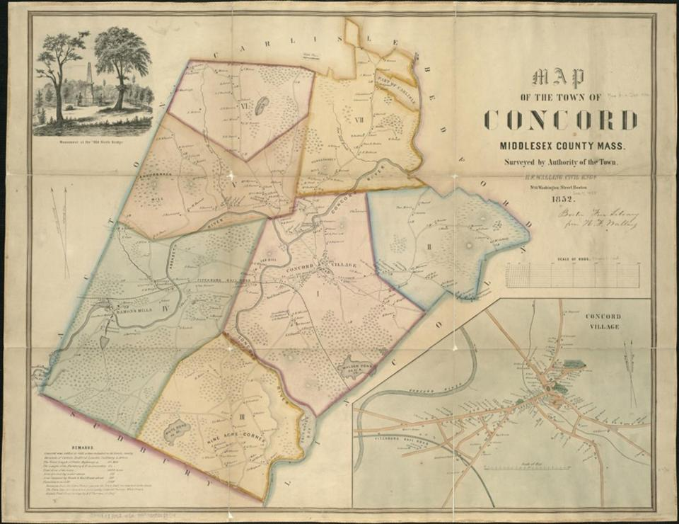 An 1852 map of Concord by Henry Francis Walling.