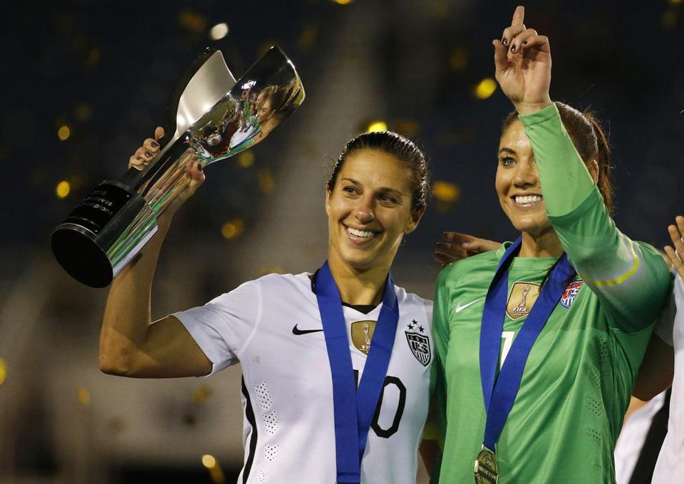 Carli Lloyd (left) and Hope Solo are two of five players who have filed a complaint against US Soccer over wage discrimination.