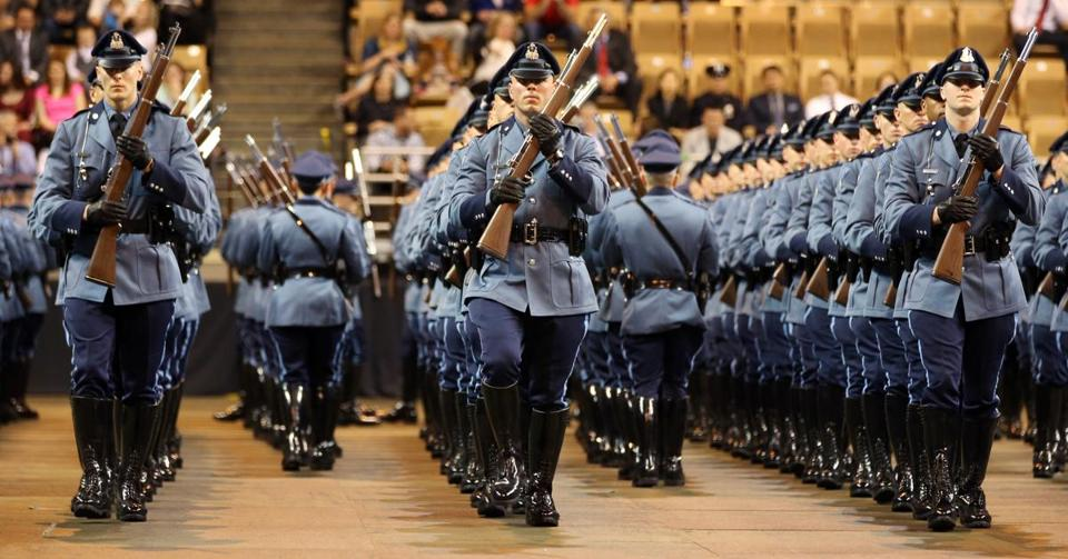 State troopers at Worcester's DCU Center in April 2016.