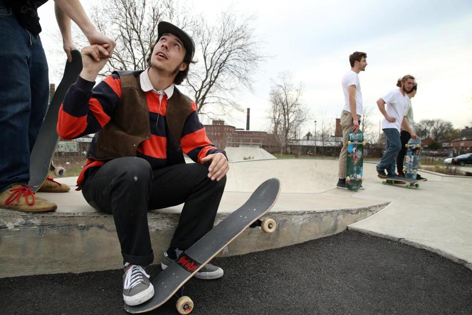 Camille Domina, 21, (seated) considers skateboarding a form of self-expression.