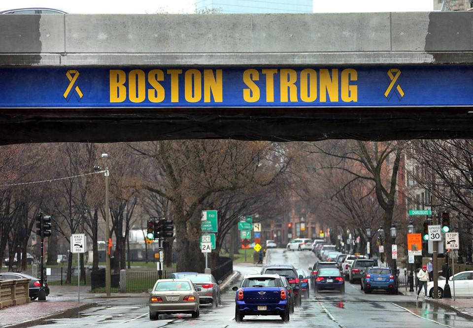A celebration was held to unveil new Boston Strong logos painted on the Bowker Overpass which spans Commonwealth Avenue and Charlesgate West.