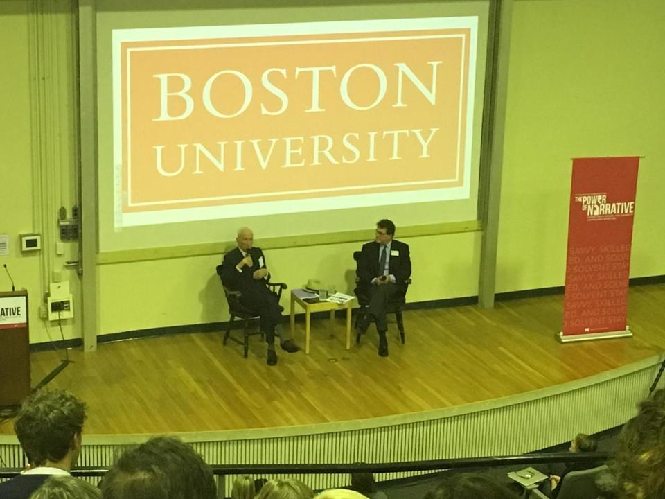 Gay Talese and Thomas Fiedler, who is the dean of Boston University's college of communication.