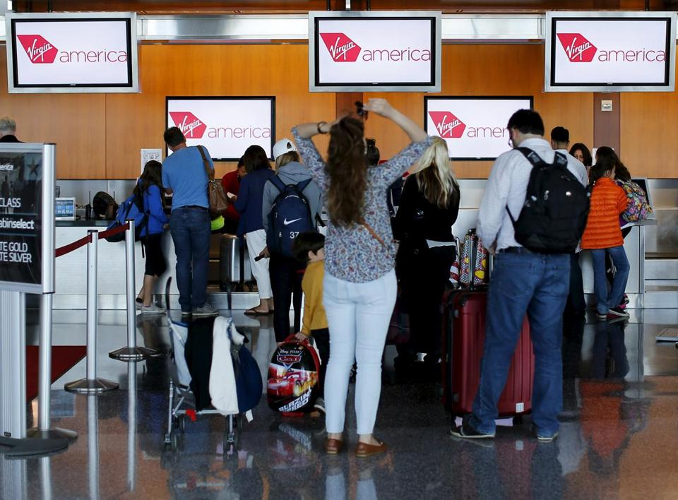 Passengers checked in for their flights in San Diego, California.
