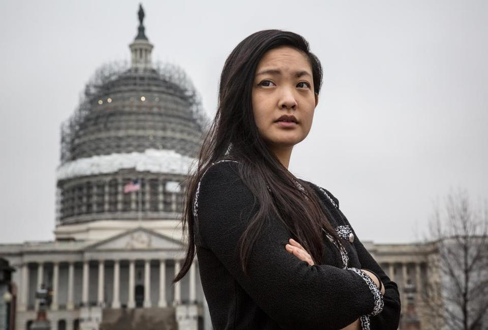Washington, DC, MAR14: Amanda Nguyen, 24, a State Department liaison to the White House, also in training to be an astronaut, helped craft a bill that could change how the US handles sexual assaults. Nguyen became an activist because of her own struggle with the legal system that nearly destroyed her rape kit. Photo by Evelyn Hockstein