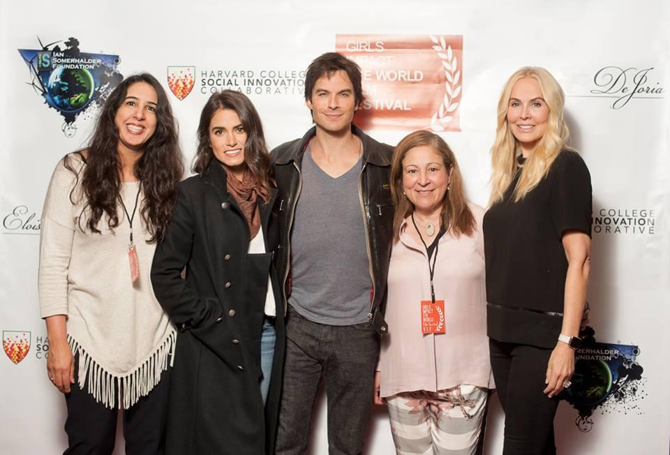 From left to right: Connecther founder Lila Igram with judges Nikki Reed, Ian Somerhalder, producer Elizabeth Avellan; and judge and presenting sponsor Eloise DeJoria.