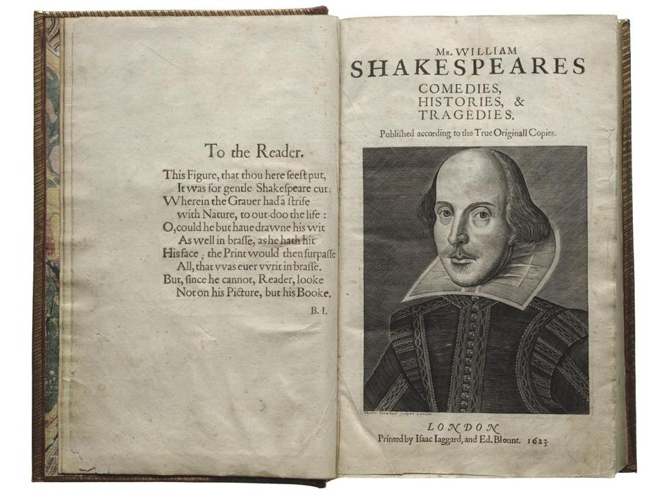 The title page with an engraving of Shakespeare from Shakespeare's First Folio (1623).