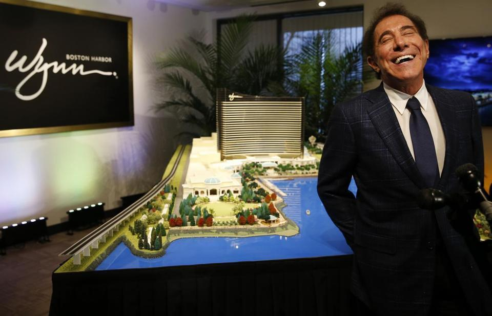 Steve Wynn stood in front of a model of his planned Everett casino.