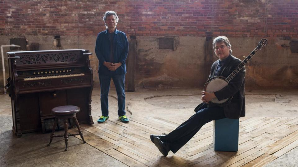 Chick Corea (left) and Béla Fleck performed at the Wilbur Theatre on Sunday.