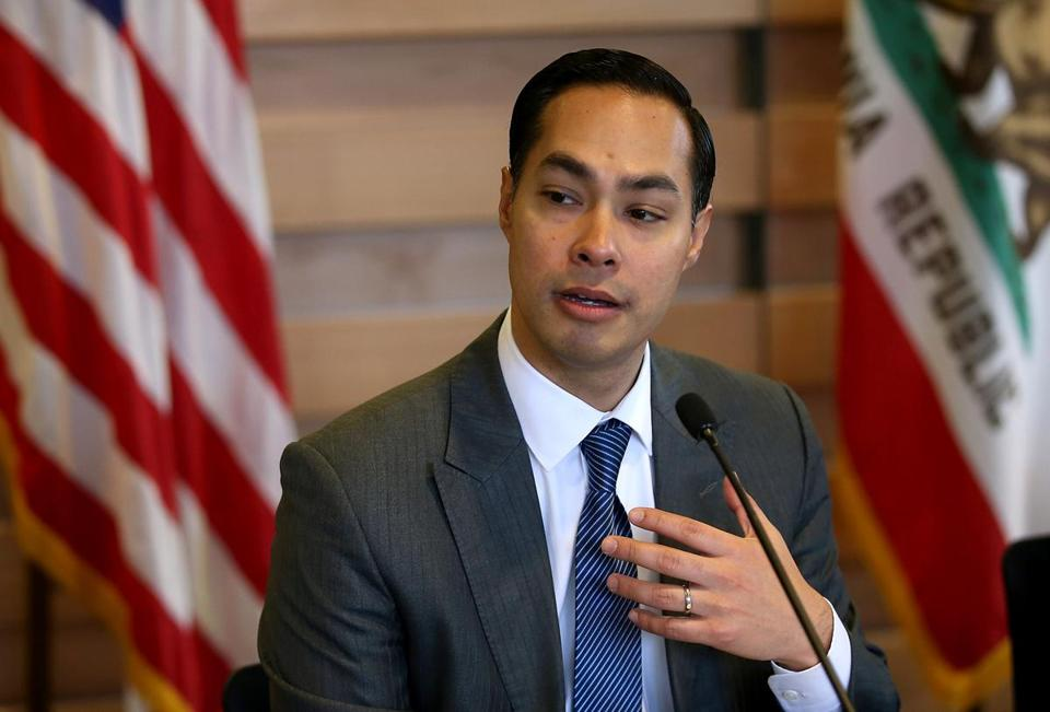 SUNNYVALE, CALIFORNIA - APRIL 08: Housing and Urban Development secretary Julian Castro speaks during a round table discussion after touring a new affordable housing facility on April 8, 2016 in Sunnyvale, California. HUD secretary Julian Castro and U.S. Rep Mike Honda (D-CA) toured a new affordable housing facility aimed at helping recently homeless vets. (Photo by Justin Sullivan/Getty Images)