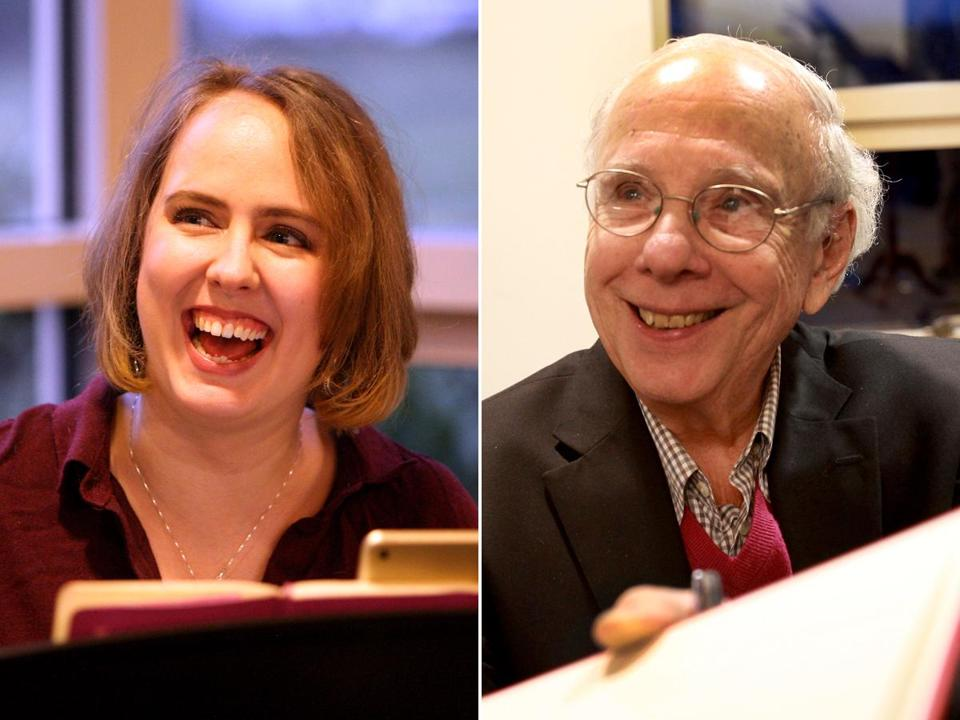 "Composer Erin Murray Quinlan and author Larry Ruttman at a reading of ""Jews on First'' at Temple Shalom in Newton."