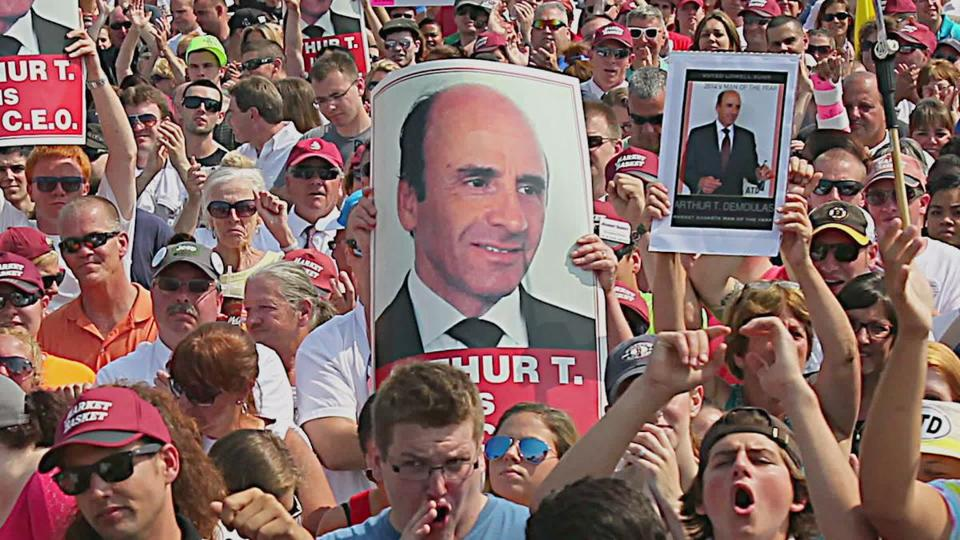 "A scene from ""We the People: The Market Basket Effect"" shows supporters of Arthur T. Demoulas."