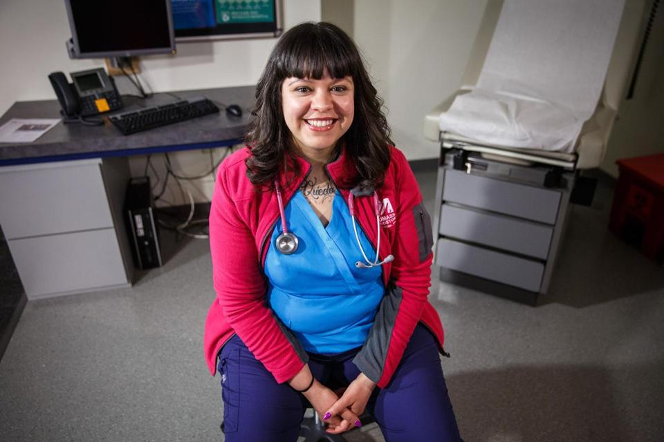 Boston, MA - 4/11/2016 - Nurse Angie Ruth Garcia poses for a portrait at the Brigham and Women's Hospital in Boston, MA, April 11, 2016. (Keith Bedford/Globe Staff)