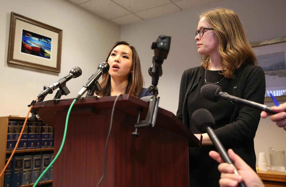 Erin Shyr, left, and Maria Currie talk about their suit against Boston University trustees and professor Eric Ruske at their attorney's office in Boston on April 12.
