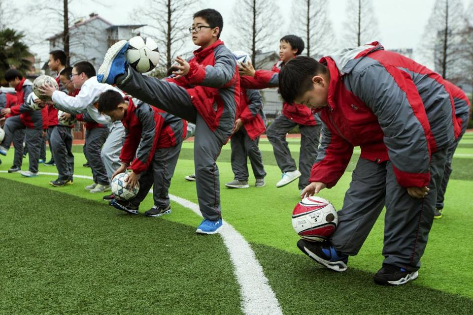 Students took part in a soccer class at a middle school in Hangzhou, China, last year.