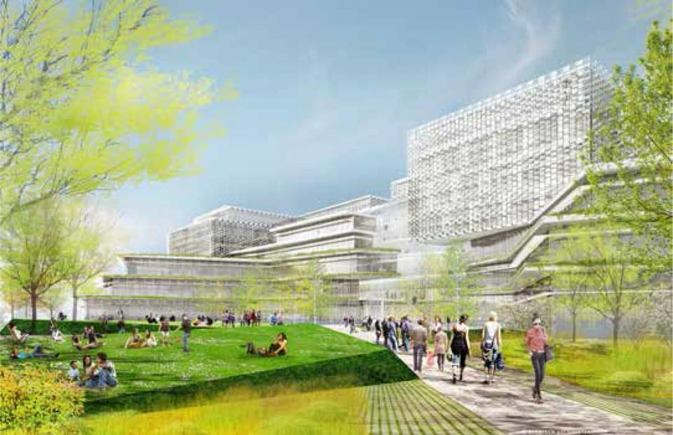 Rendering of Harvard University's proposed Science and Engineering Complex South Courtyard, in Allston, looking Northwest. November 2015 report released 4-16. Business 14Harvard