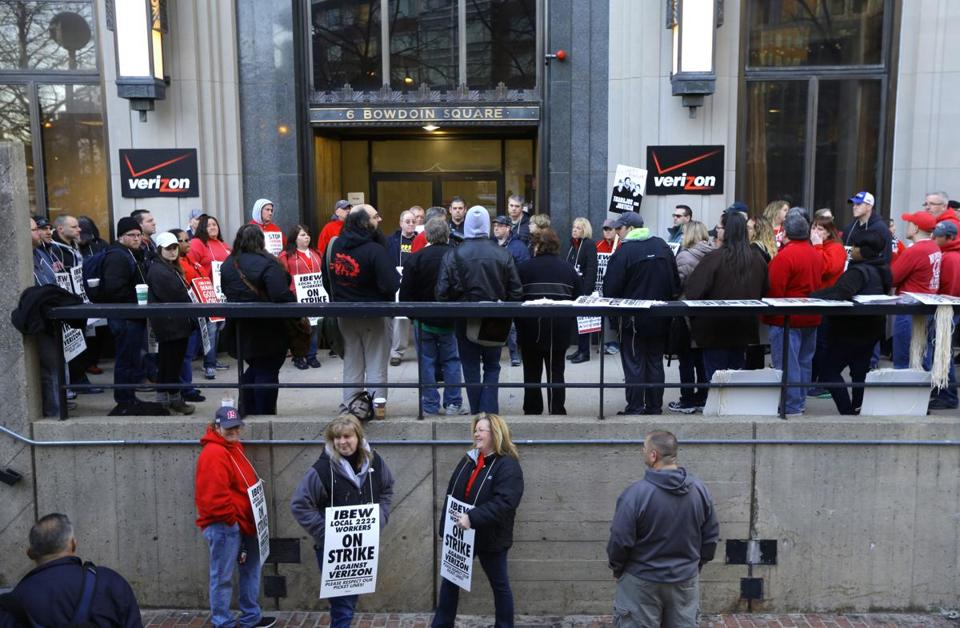 Verizon workers went on strike Wednesday along the East Coast, including Massachusetts. Picketers were seen outside the company's offices in downtown Boston.